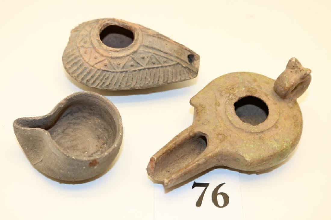 Group of Three Middle Eastern Oil Lamps