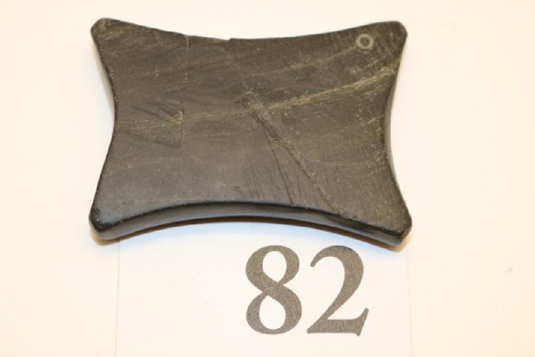 Banded Slate Undrilled Quadro Concave Gorget - 2
