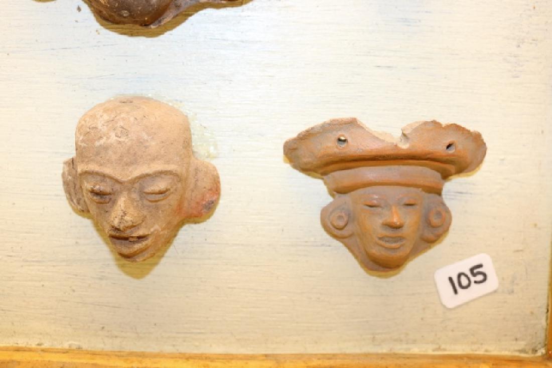 9 Pottery Mayan Heads - 2