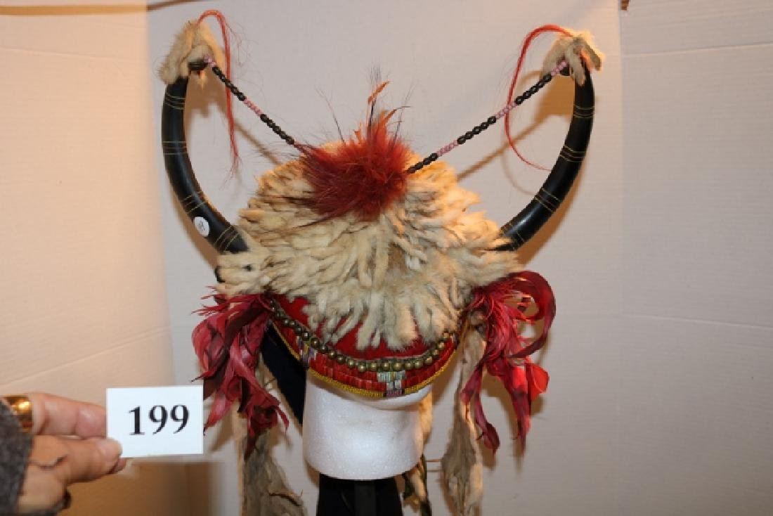Ermine Split Horn Headdress-NO SHIPPING OUT OF COUNTRY