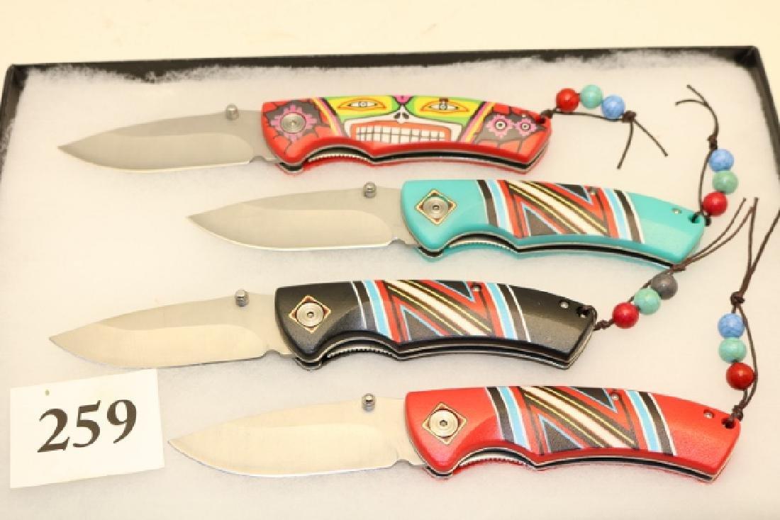 (4) Native American Design Pocket Knives