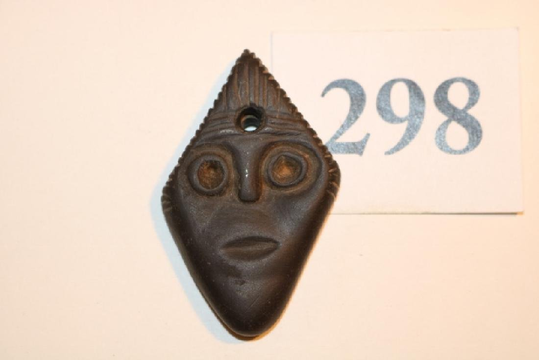 Engraved Canal Coal Triangle Face Pendant