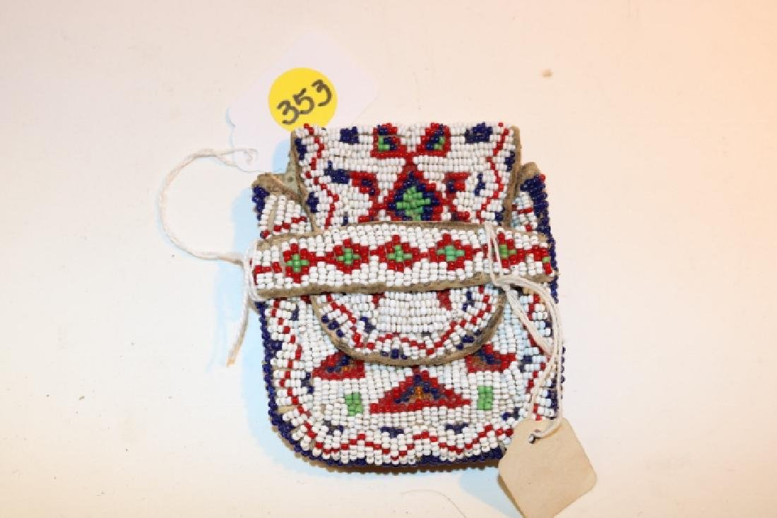 Sioux Fully Beaded Front and Back Strike-a-lite Pouch