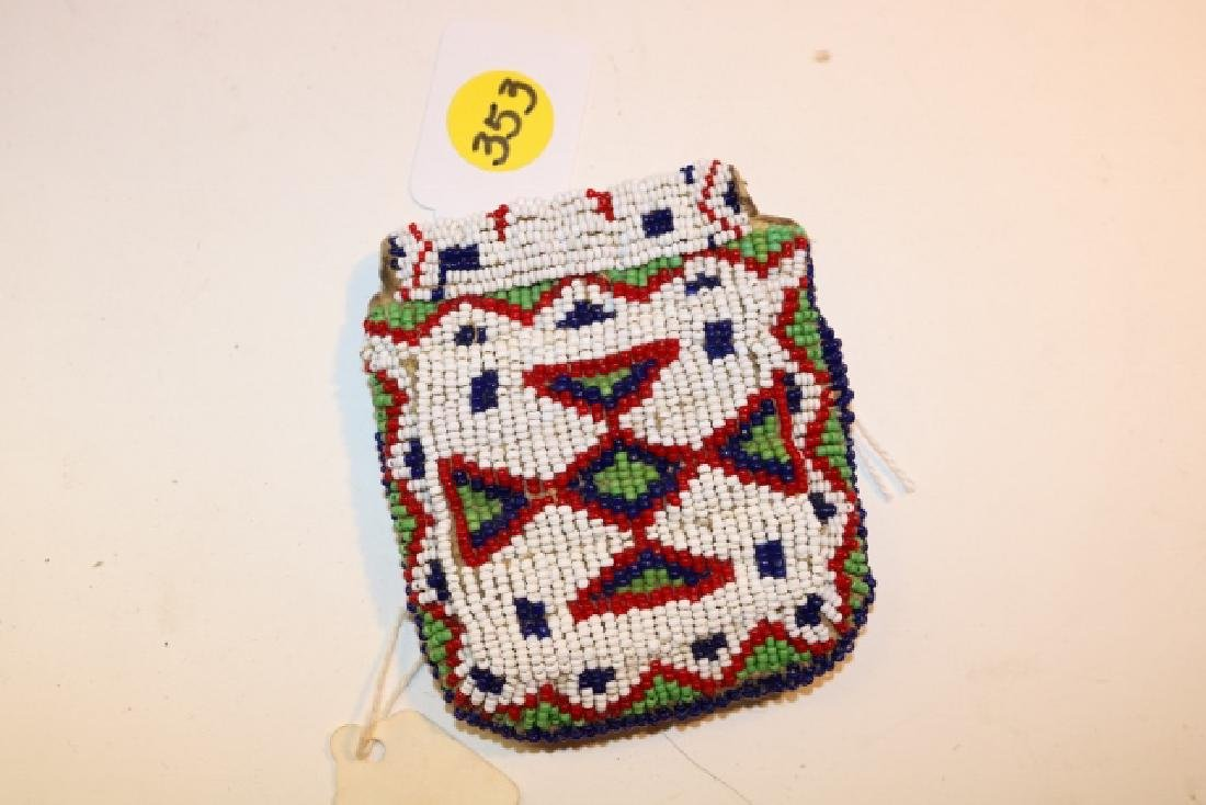 Sioux Fully Beaded Front and Back Strike-a-lite Pouch - 2