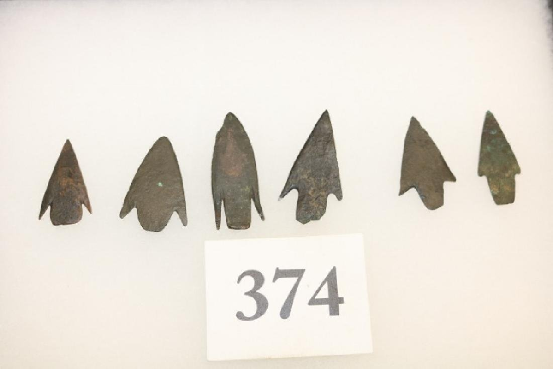 Frame of (6) Post Neolithic Copper Arrowheads