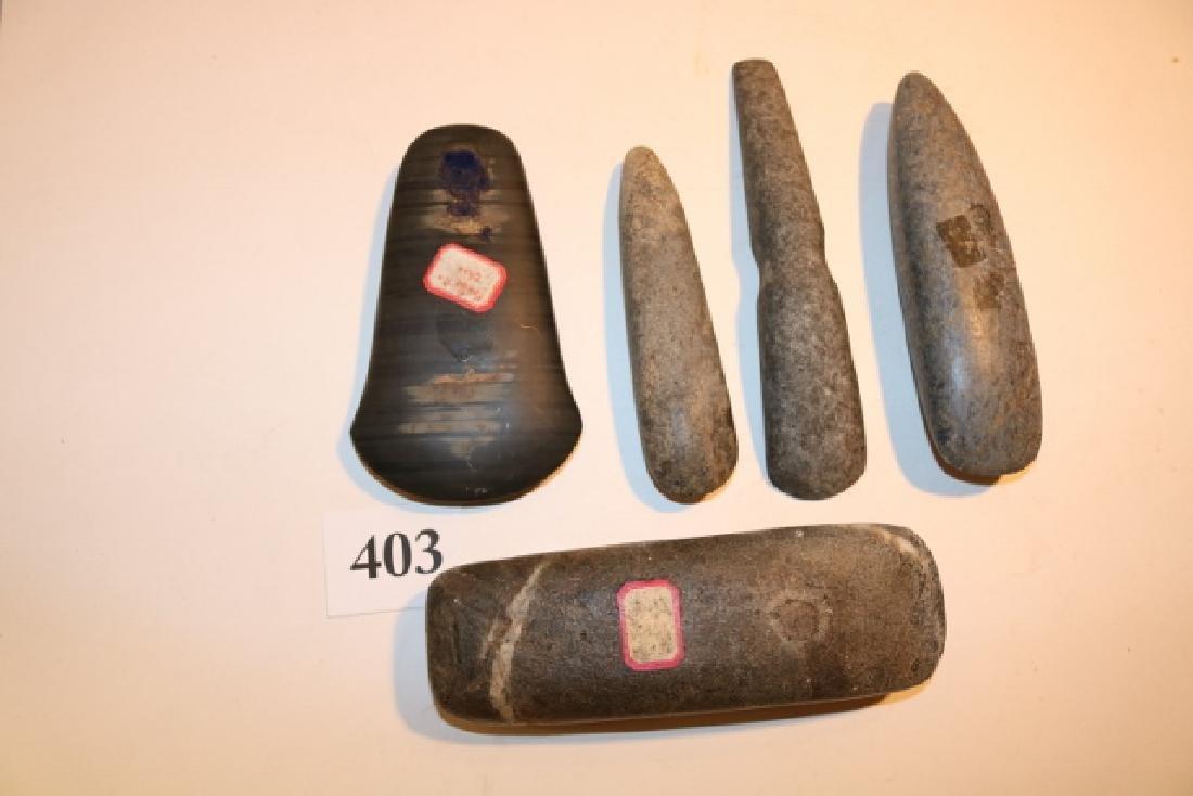 4 Stone Celts, 1 Adze