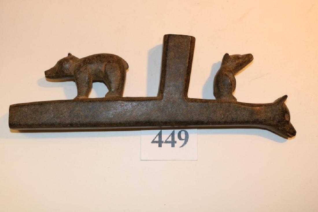 Steatite Bear Effigy Pipe - 2