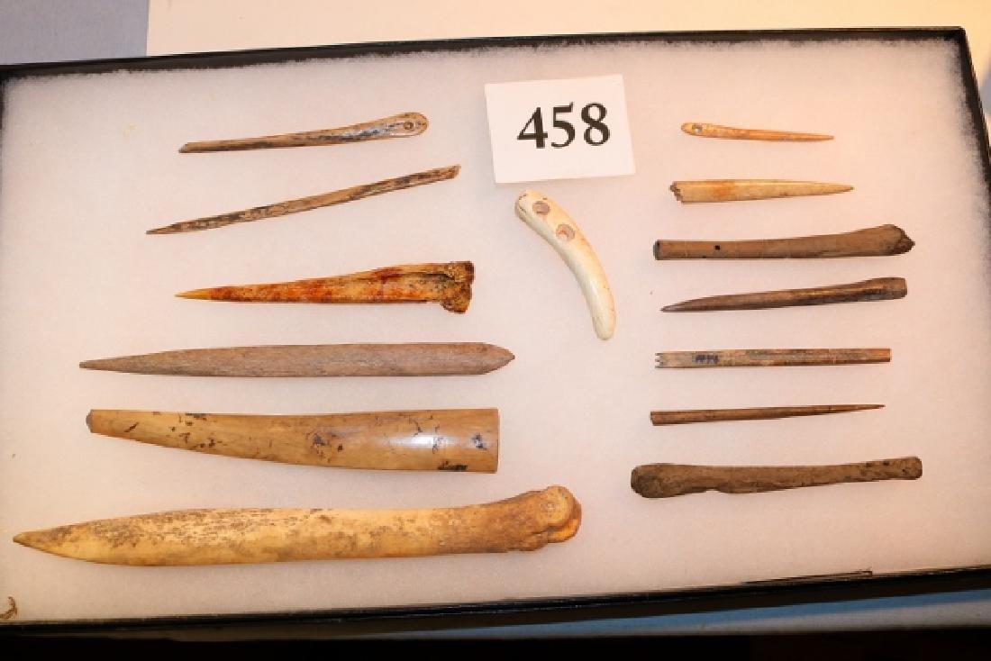 14 Bone Artifacts, Awls, Pins