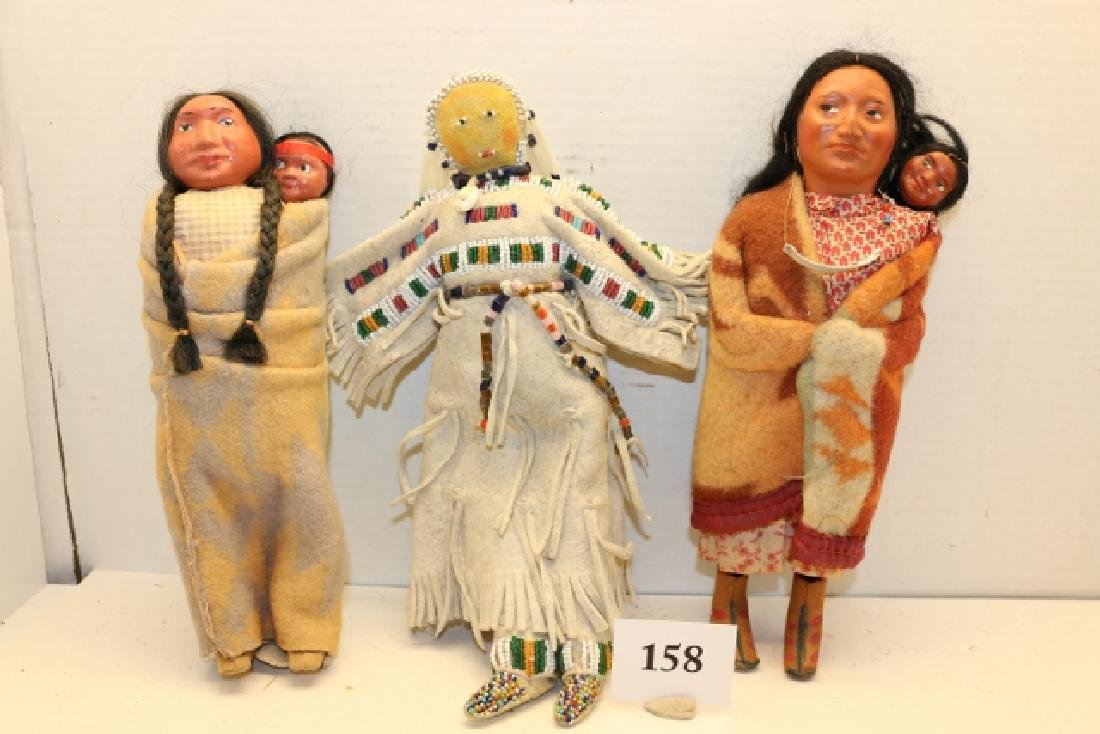 2 Skookum Dolls - 1 Plains Hide Doll