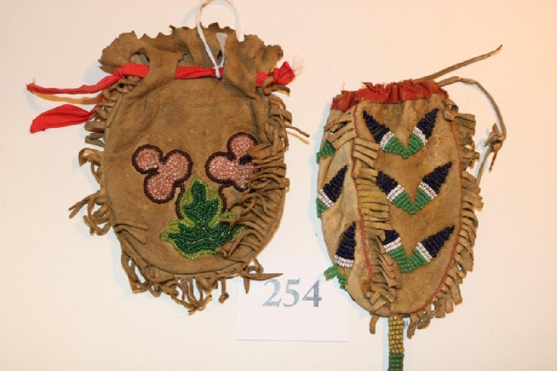 (2) Beaded 2 Sided Apache Pouches