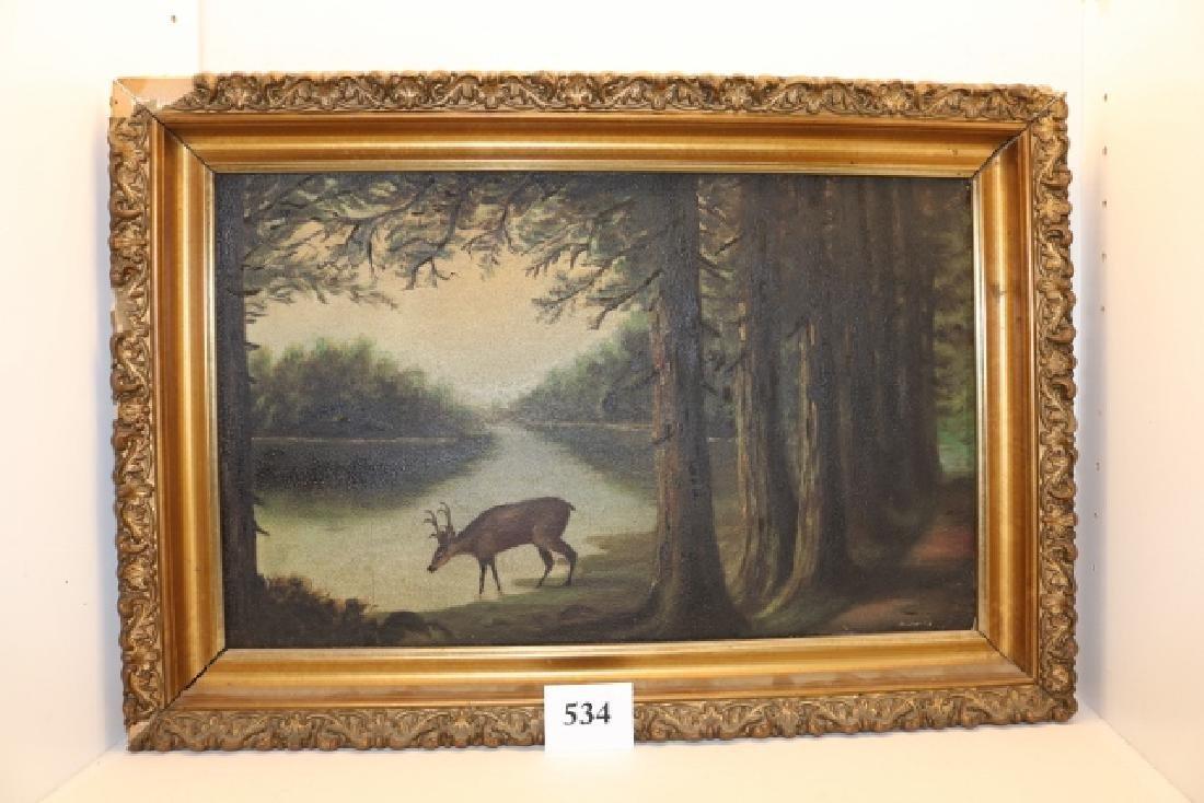 Framed Oil on Canvas Deer in woods