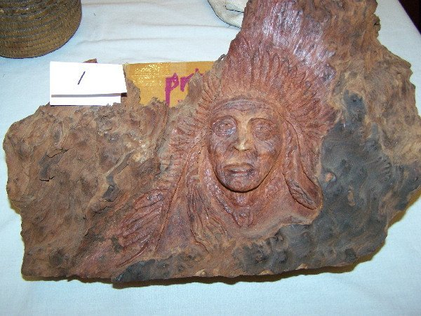 "1: 14"" x 11 1/2"" Wood Sculpture of Indian Chief"