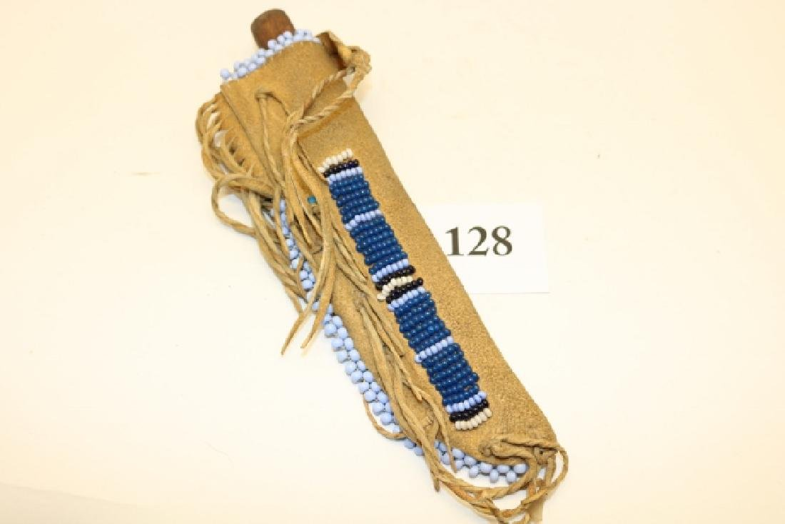 Beaded Fringed Knife Sheath with knife