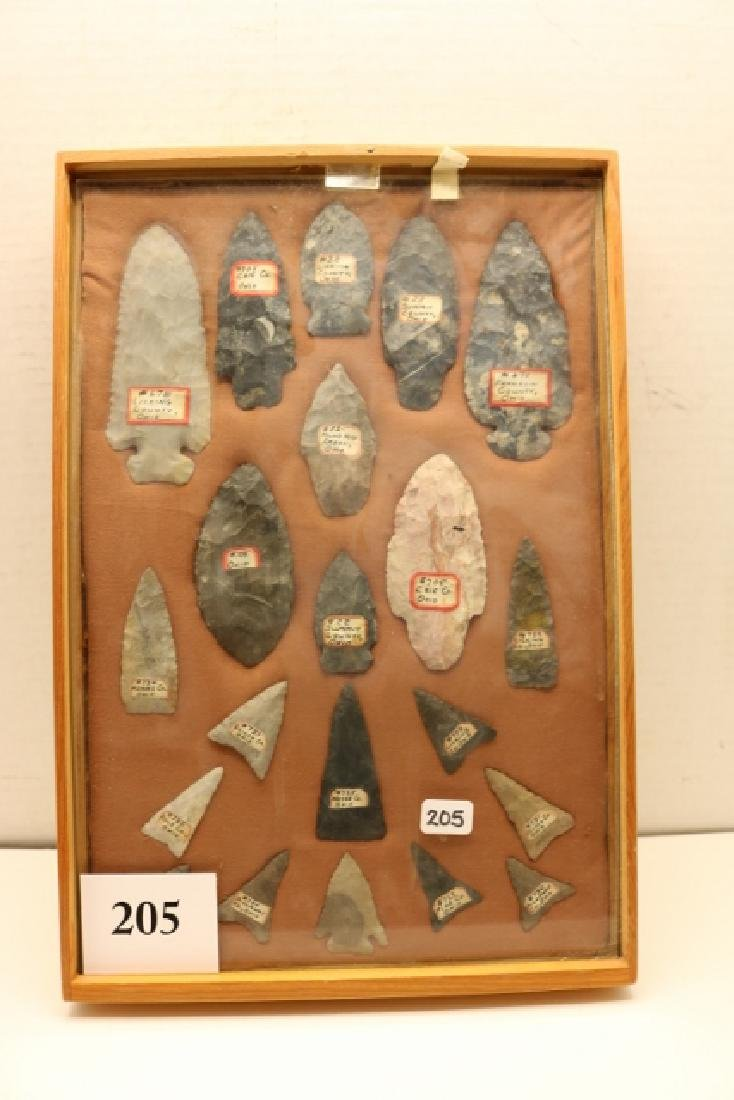 Frame with 21 Ohio Artifacts