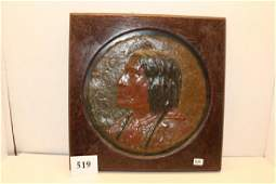 Wood Plaque with carved Painted Indian