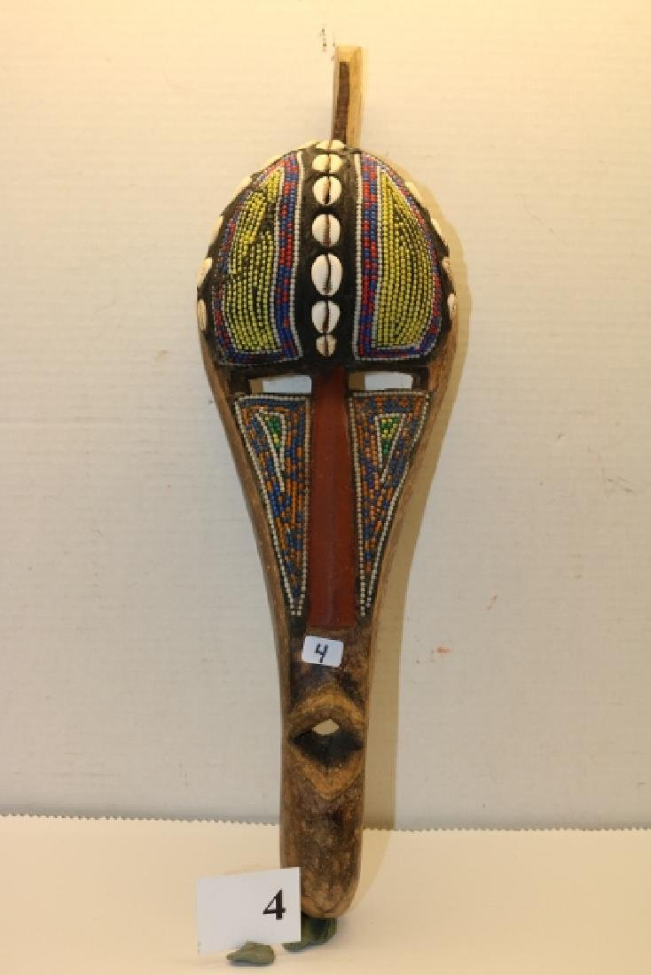 Bead Decorated Carved African Mask