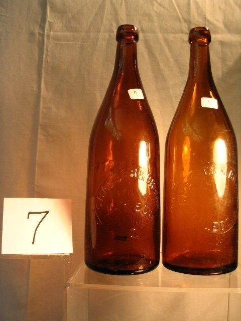 7: Pair of Amber Beer Bottle