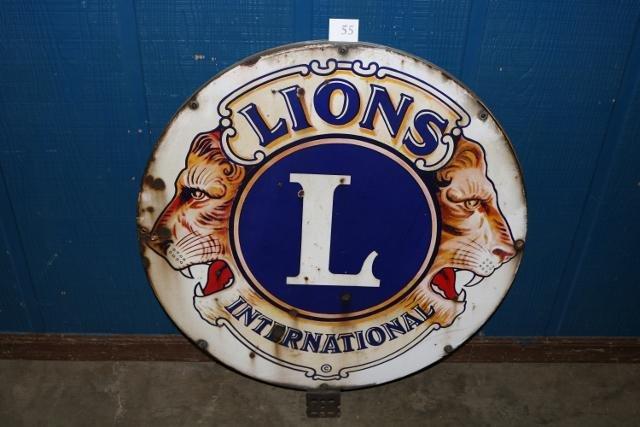 Lions International Porcelain Sign