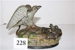 Eagle and Eaglet Cast Iron Mechanical Bank