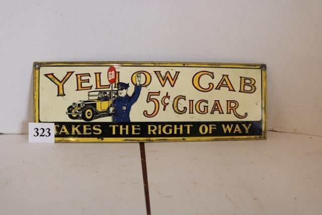 Yellow Cab Cigar Porcelain Sign
