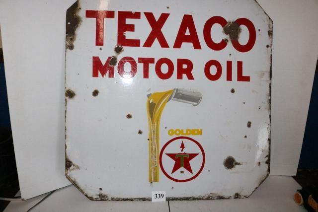 Porcelain Texaco Motor Oil Sign-WILL NOT SHIP