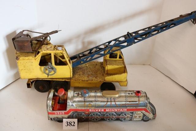 2 Piece Lot, Silver Mountain Tin Train