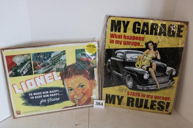 2 Reproduction Signs, Lionel Train Sign