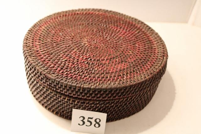 Red Painted Round Indian Basket
