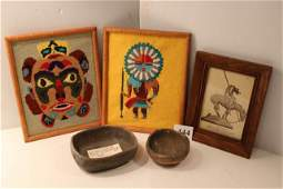 Job Needle Point in frames Picture  Bowls