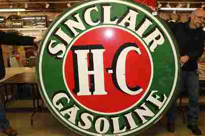 Sinclaire gasoline porcelain double sided sign