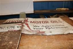 Tin Marathon Motor Oil Sign - WILL NOT SHIP