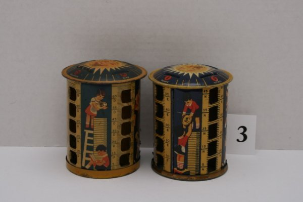 3: 2 Tin Coin Banks with Children