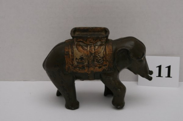 11: Elephant with Howdah Cast Iron Bank
