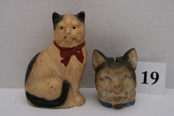 19: 2 Banks – 1 Cat with Bow Seated, Cat Head
