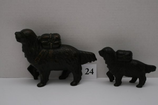 24: 2 St. Bernard with Pack Cast Iron Banks