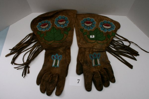 7: Pair of Beaded Floral Fringed Gauntlets