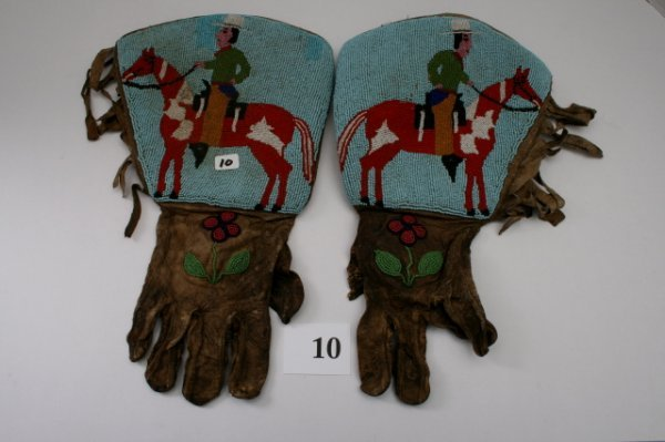 10: Pair of Beaded Floral and Pictorial Gauntlets
