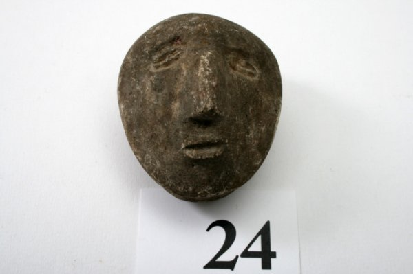 24: Human Face Effigy Pipe Bowl