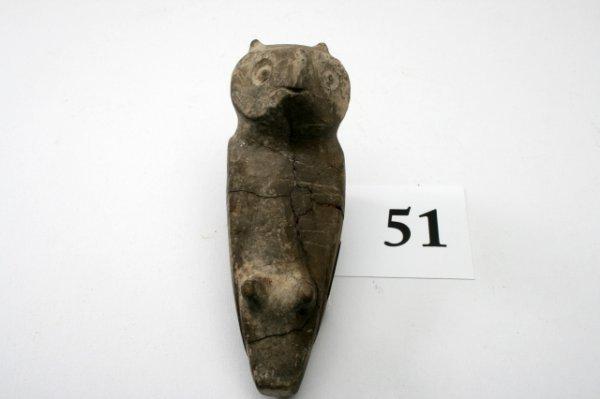 "51: 4 7/16"" Owl Effigy Pipe"