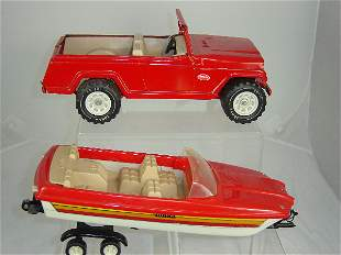 Tonka Toys Jeep with trailer and boat