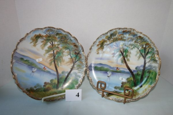 4: Matched pair of unmarked scenic plates