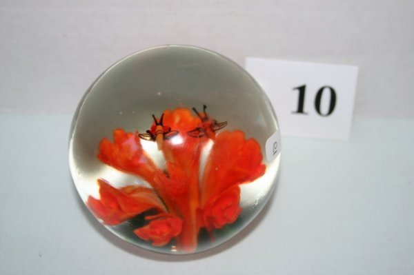10: paper weight with orange flowers and bees