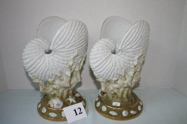 12: Pair of china nautilus shell vases