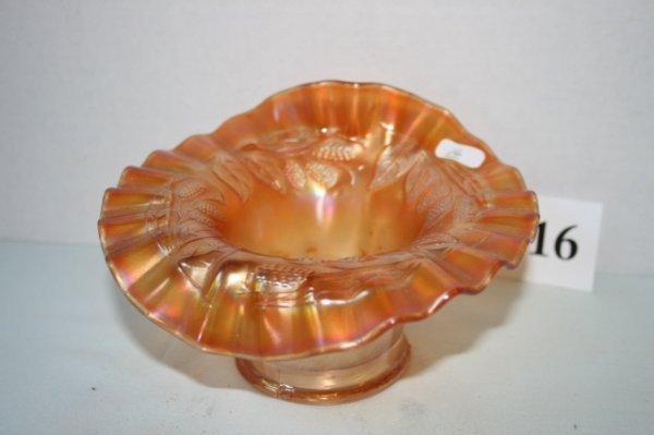 16: Marigold carnival glass Jack in Pulpit vase
