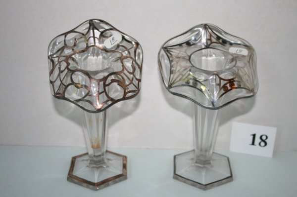 18: Pair of silver overly JIP vases