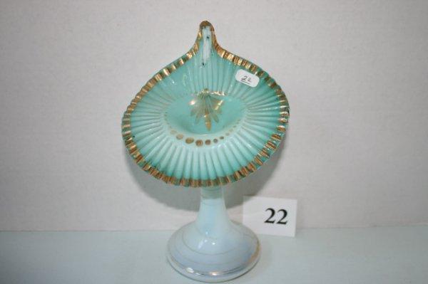 22: Pr. green ruffled top JIP vases
