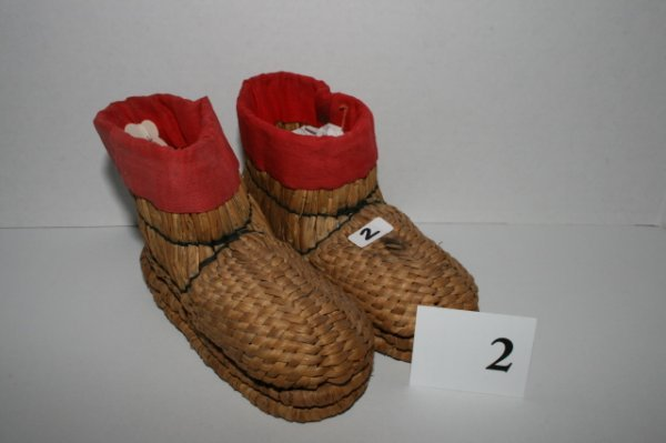 2: Pair of Child's Woven Grass Shoes