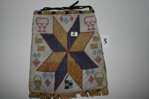 5: Beaded Bag on Red Trade Cloth
