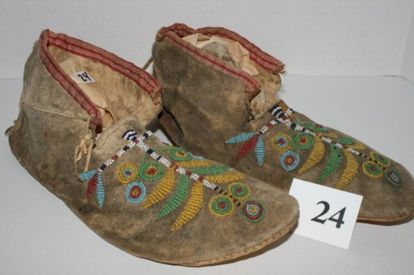 24: Pair of 1870's Crow Moccasins