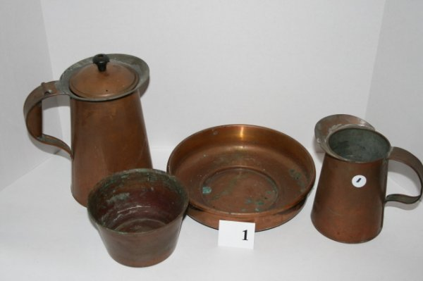 1: Four pieces of brassware